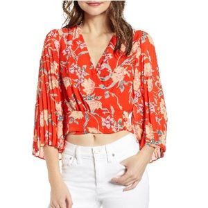 RED WRAP BLOUSE